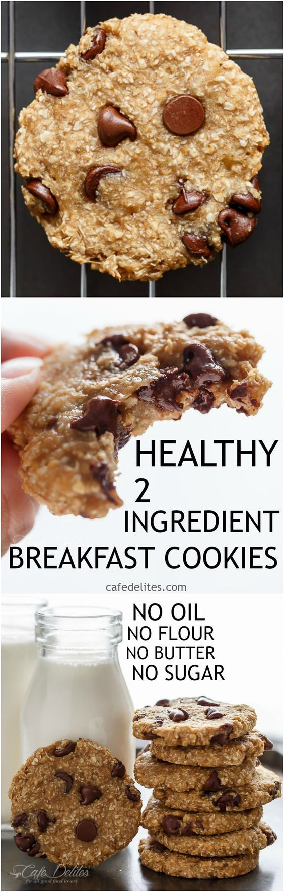 No flour. No oil. No refined sugars, Non fat. Weight Watchers friendly. Low calorie! These Healthy 2-Ingredient Breakfast Cookies are super easy to make!   http://cafedelites.com: