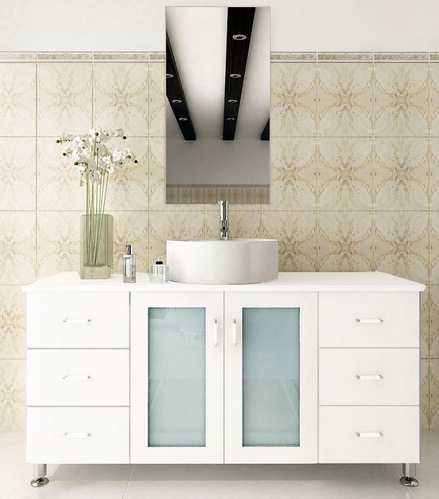 47.25 inch Vessel Sink Bathroom Vanity Solid Wood Top ...