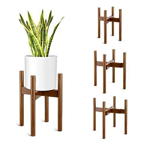 Magicfly Mid Century Plant Stand Expandable Width Adjustable Height For 8 12 Inch Modern Planter Pots Wood Fl In 2020 Modern Planters Planter Pots Flower Pot Holder