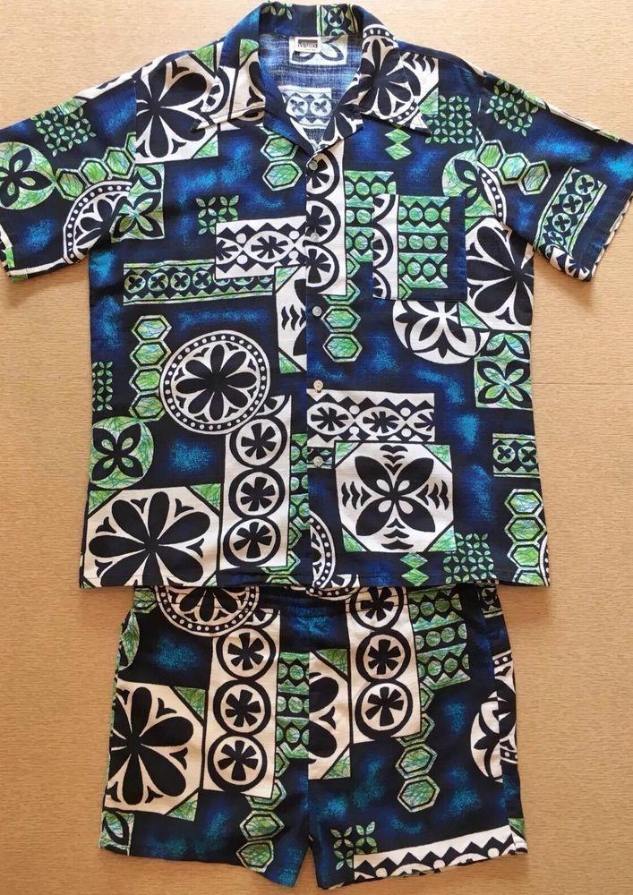5759a89b40 Vintage Tiki Cabana Set: Hawaiian Shirt + Swim Shorts Blue & Green Large |  eBay