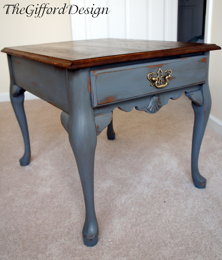 Refurbished wood & gray painted table