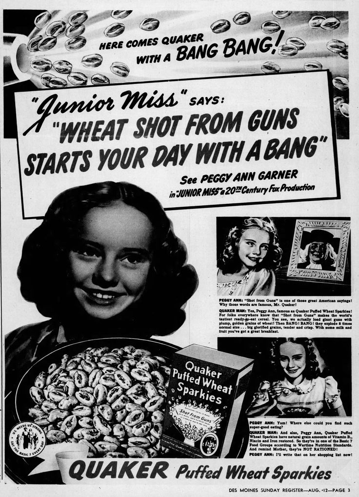 Quaker Puffed Wheat Sparkies cereal ad with Peggy Ann Garner, 1945