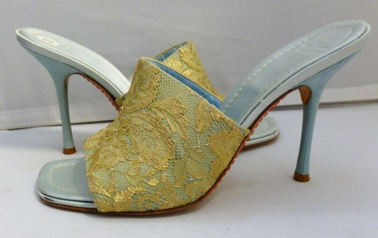 Valentino Garavani Gold Lace Light Blue Heels Shoes Sandals Mules 40 10 | eBay