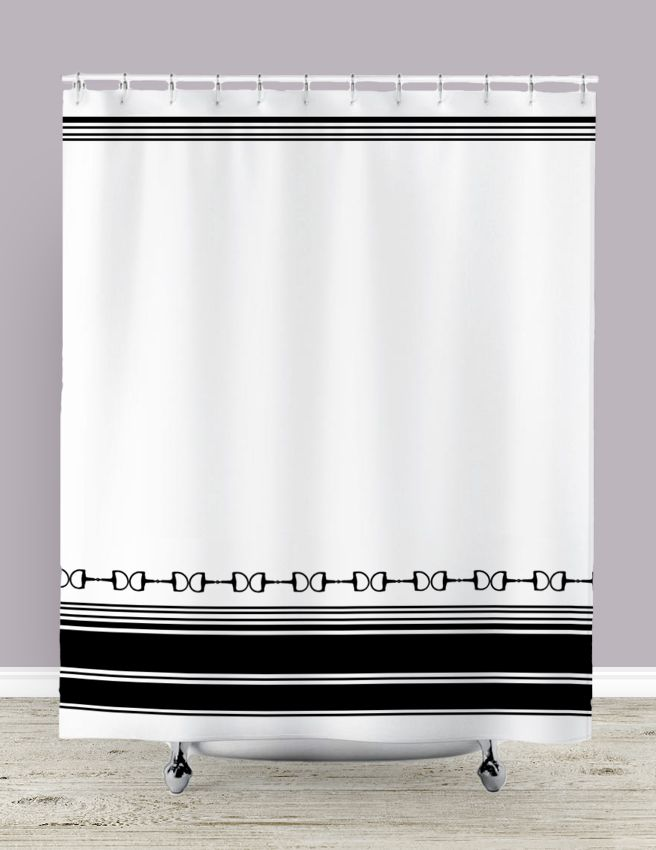Equestrian Shower Curtain - designer home decor for the horse lover's bathroom - love the chic look of black and white stripes with simple snaffle horse bits along the bottom. Farmhouse style perfect for anyone who loves horses ponies and horseback riding.