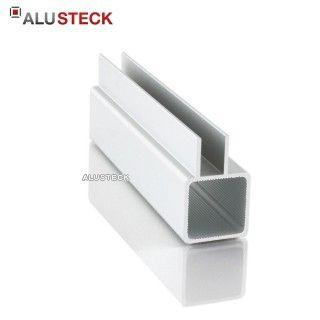 Alu Vierkantrohr 25 x 25 mm - ein 15 mm hoher Doppelsteg, in Wunschlänge nach Maß zum einschieben von Plattenmaterial bis max. 9 mm Stärke im ALUSTECK® Onlineshop unter http://www.alusteck.de/alu-vierkantrohr-profile/ kaufen