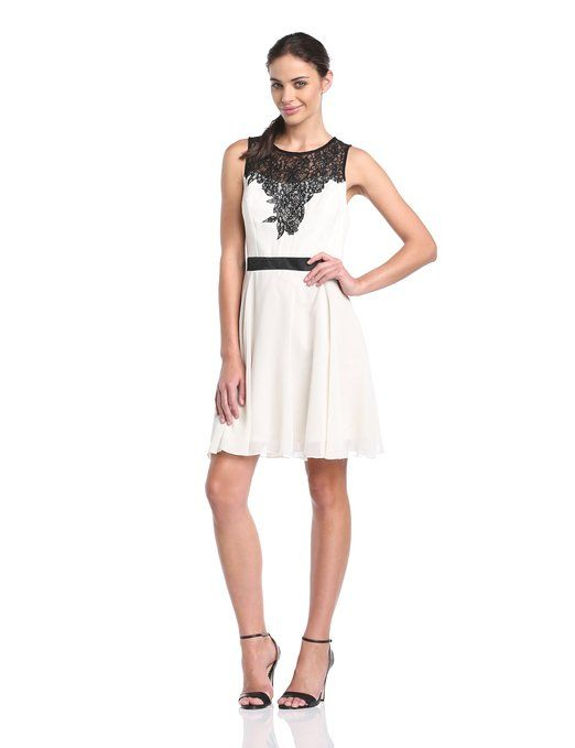 Lipsy Women's Lace Top Skater Sleeveless Dress Cream/Black Size 8: Amazon.co.uk: Clothing