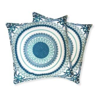 @Overstock.com - Lush Decor Geovany Blue Decorative Pillows (Set of 2) - Add a bit of decoration to your couch, chair, or bed to complete its look with these contemporary square decorative pillows.The two pillows feature a soft down fill under highly-detailed embroidered covers that make for a perfect napping surface.  http://www.overstock.com/Home-Garden/Lush-Decor-Geovany-Blue-Decorative-Pillows-Set-of-2/8020109/product.html?CID=214117 $52.19
