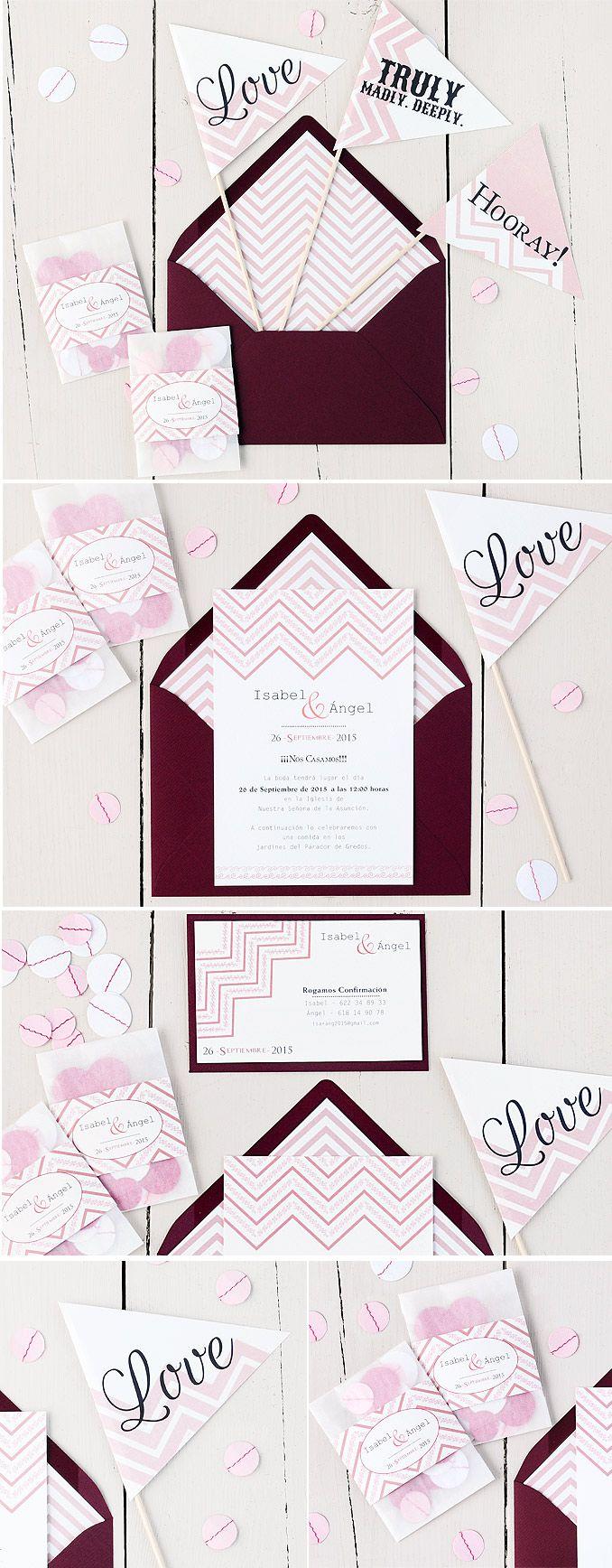 Invitación de boda chevron en rosa y burdeos #azulsahara #wedding #invitations www.azulsahara.com