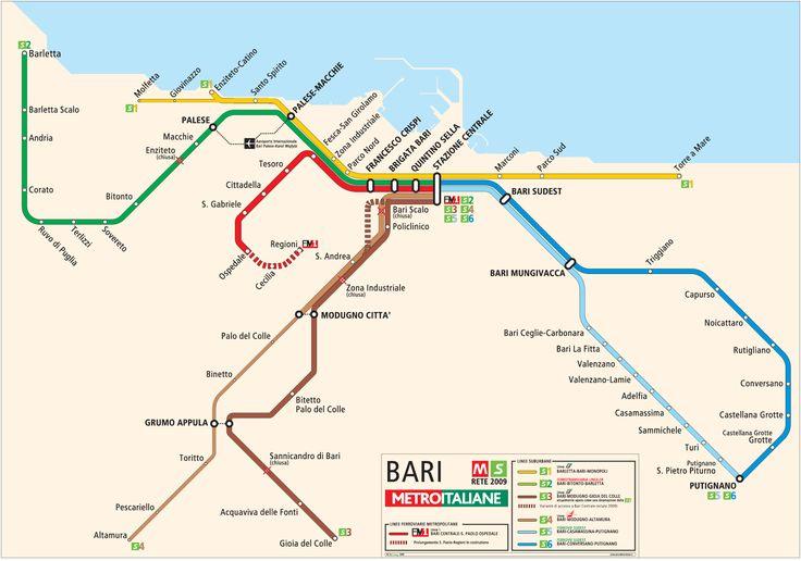 Bari Metro Map large map