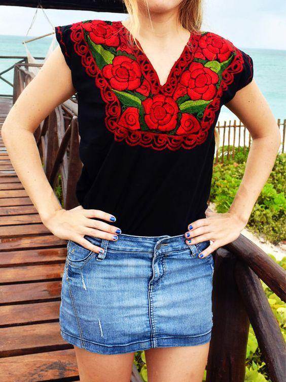 274d85c33 Blusas bordadas estilo mexicano,Blusas bordadas estilo mexicano ...