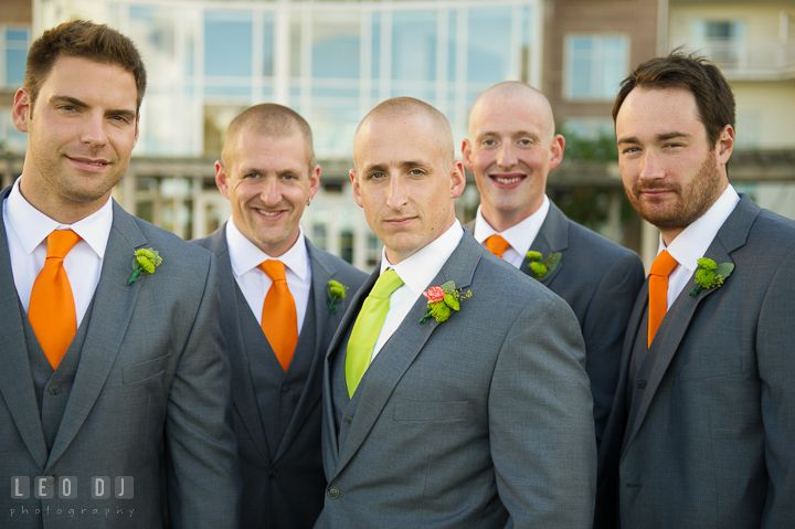 Group shot of Groom, Best Man and Groomsmen. Hyatt Regency Chesapeake Bay wedding at Cambridge Maryland, by wedding photographers of Leo Dj Photography. http://leodjphoto.com