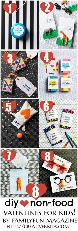 8 DIY Non-Food Valentines for Kids with printable templates!