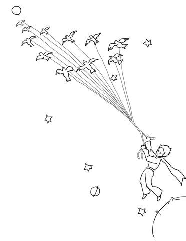 Little Prince Leave His Planet with Migrating Birds Coloring page