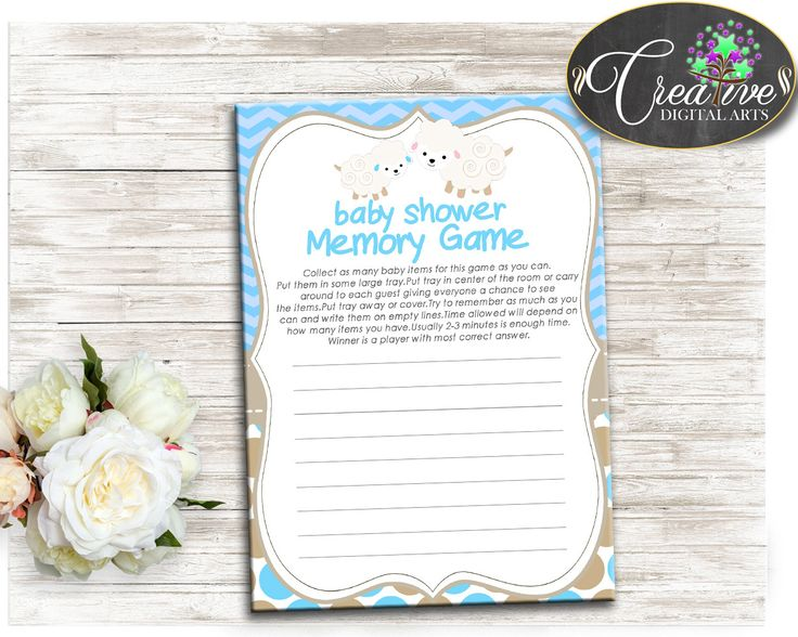 Printable Baby Shower MEMORY Game For Baby Boy Shower Blue With Little  Lamb, Sheep And Blue Chevron Theme This Beautiful Baby Shower Memory Game  Is A Fun ...