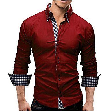 Camisa De los hombres Casual / Trabajo / Formal Cuadros Escoceses / Un Color - Poliéster - Manga Larga - USD $ 8.88