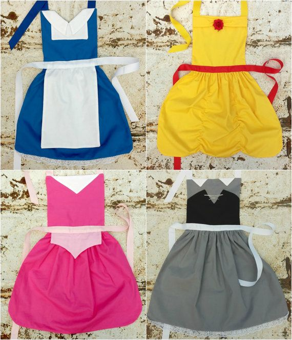 Set of 6. Your Choice of Disney inspired Princess APRONS. Fits sizes 12-24 mo, 2t, 3t, 4, 5, 6, 7, 8, 9, 10, 12. Dress up. Toddler Baby Girl