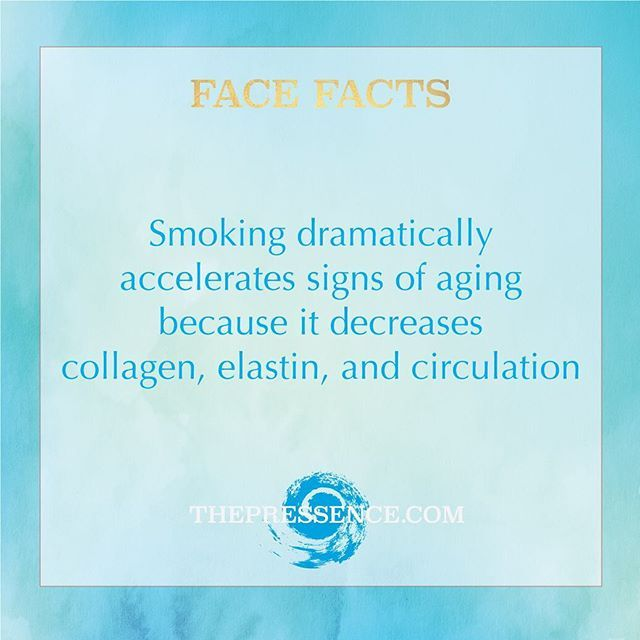 Did you know? Accelerated aging is just one of the many reasons why smoking is bad for you. Nicotine causes narrowing of the blood vessels which restricts blood flow and inhibits adequate amounts of essential nutrients from reaching the skin. Smoking also decreases elastin and collagen, proteins that keep skin from wrinkling