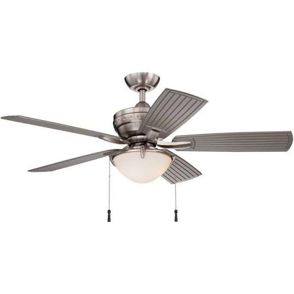 Hampton Bay 4-Winds 54 in. LED Indoor/Outdoor Brushed Nickel Ceiling Fan AC457-BN