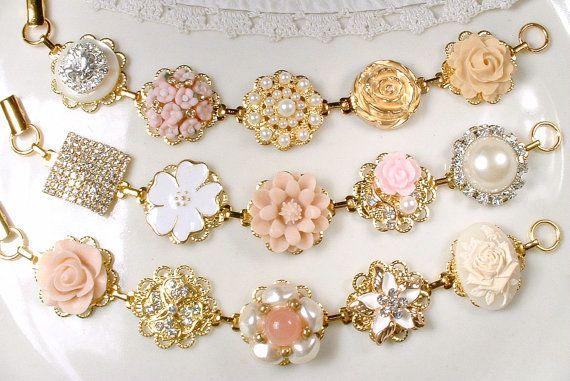 Gold Blush Pink Champagne Bridesmaid Bracelet Set 3 4 5 6 7 8, Bridesmaids Gifts OOAK Ivory Pearl Rhinestone, Vintage Earring Wedding Flower