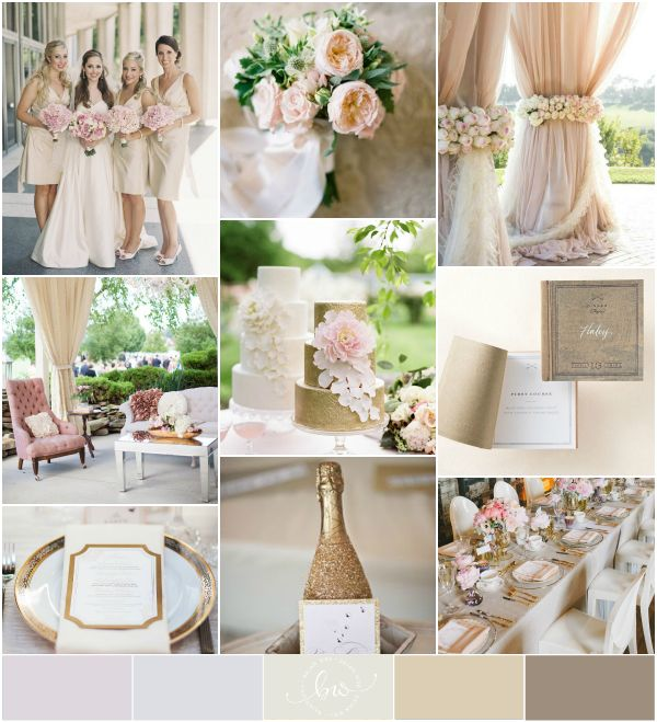 Gold, ivory, champagne, blush pink, chocolate wedding palette {reader request}