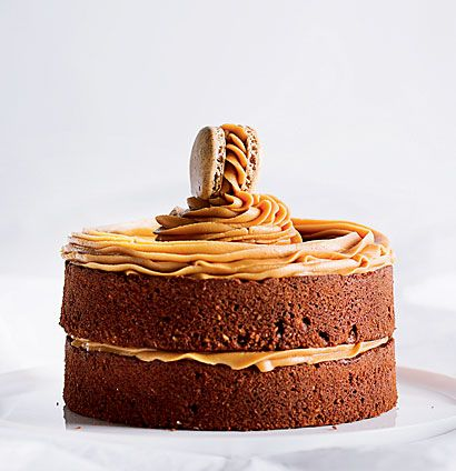 Gluten-free chocolate-and hazelnut cake with peanut butter icing