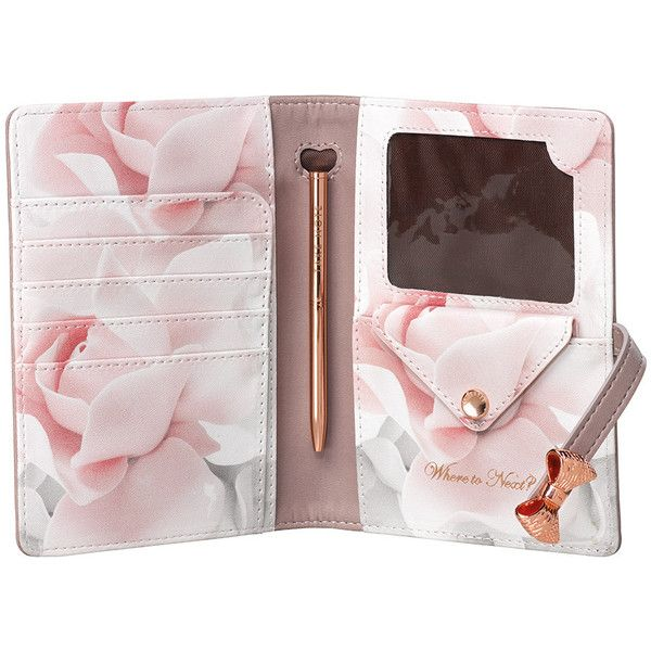 Ted Baker Travel Document Holder & Pen - Thistle ($51) ❤ liked on Polyvore featuring home, home decor, office accessories, pink, travel document holder, pink office accessories, pink pens and ted baker