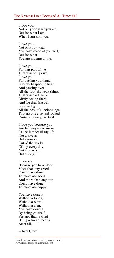 The Greatest Love Poems Of All Time Poem Roy Croft