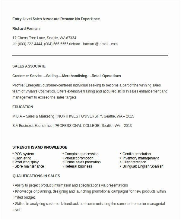 50 Unique Entry Level Sales Resume In 2020 Resume Examples Retail Resume Examples Job Resume Examples