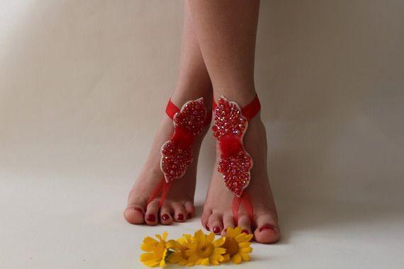 Barefoot Beach Düğün dantel düğün ayakkabı sandalet, kırmızı dantel sandalet, plaj düğün, gelin Barefoot Sandalet,