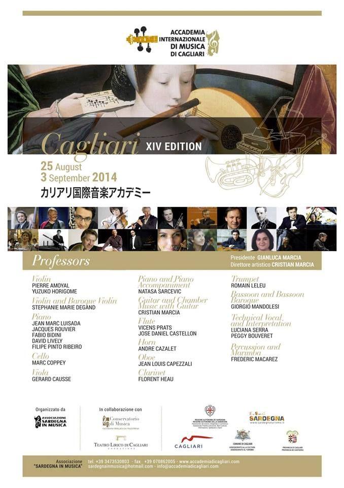 XIV EDIZIONE ACCADEMIA INTERNAZIONALE DI MUSICA – CAGLIARI – 25 AGOSTO- 3 SETTEMBRE 2014
