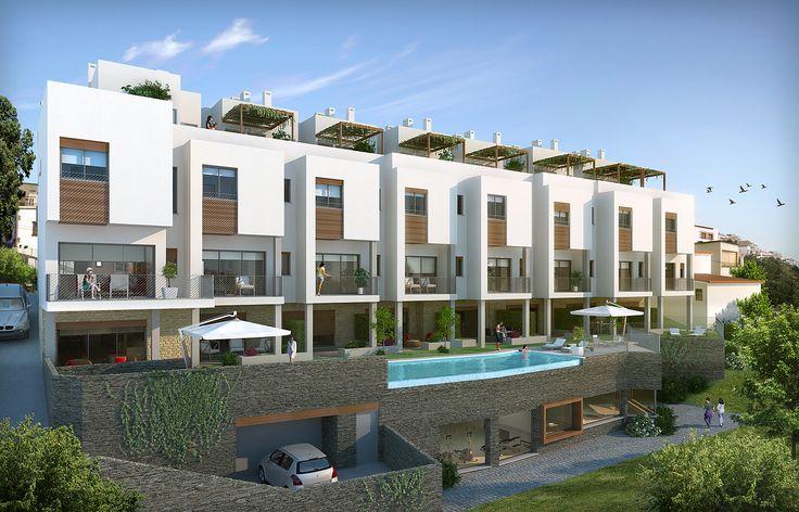 #Edificios #Moderno #Balcon #Exterior #Jardin #Piscina #Puertas #Dibujos #Muebles de exterior #Fachada #Barandillas #Plantas #Arboles #Ventanas