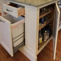 kitchen island storage, hidden waste basket,.