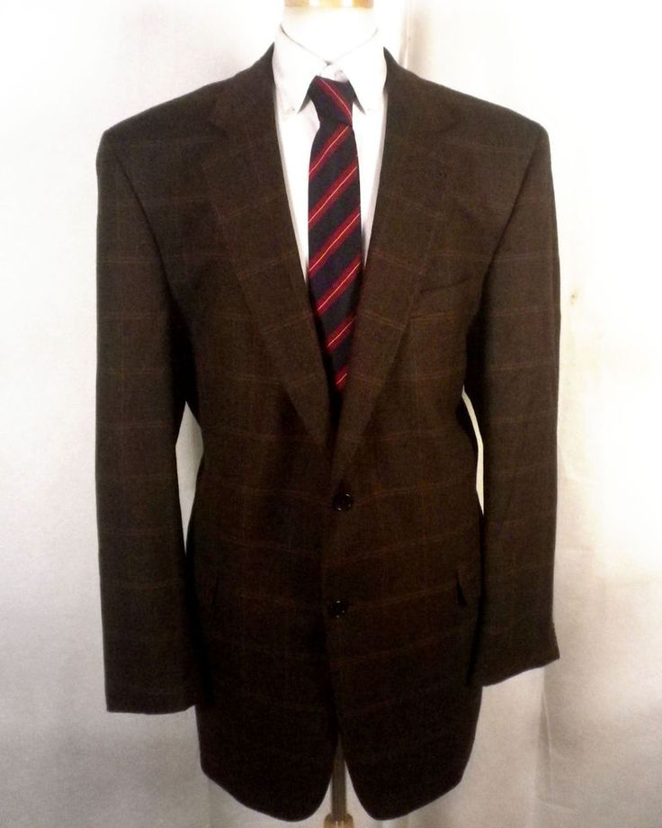 euc Jos A Bank Signature Brown Plaid Wool & Cashmere Blazer Sportcoat big 46 XL #JosABankSignatureGold #TwoButton