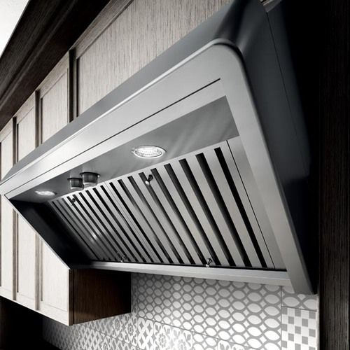 TITAN is a range hood inspired by professional restaurant kitchens. It projects a similar forward sloping design that opens up the kitchen and delivers added head room & safety for the busy gourmet.