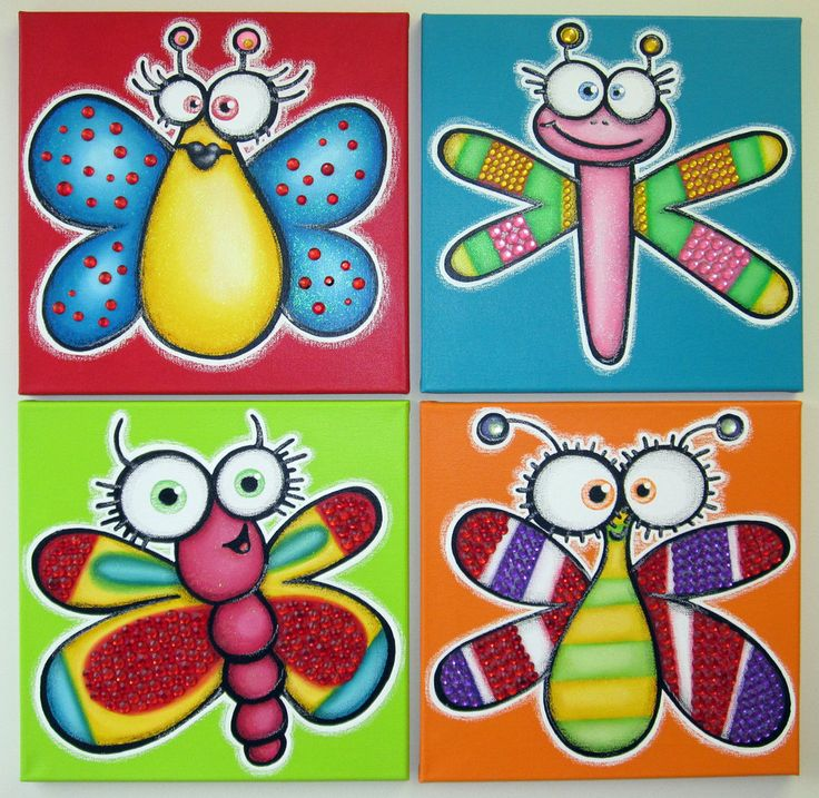 HaPPy BuGs - set of 4 12x12 original paintings on canvas for baby or kid room, nursery wall art, playroom decor. $120.00, via Etsy.