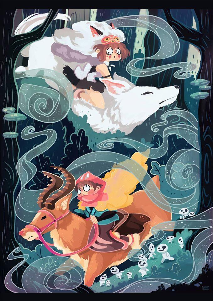 Spirit of the Wind: A Studio Ghibli Tribute Show, Princess Mononoke illustration artist unknown