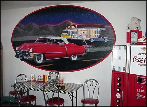 21 best 50 39 s diner 50 39 s drive in theater room images for Car themed kitchen
