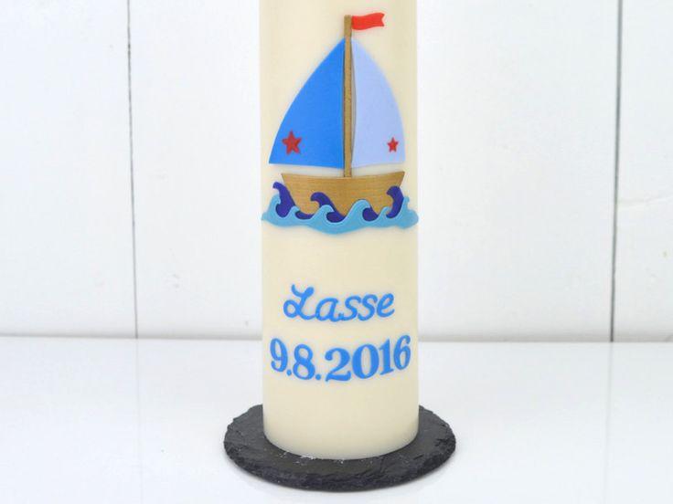 #Taufkerze #Taufe #Junge #Schiff #DaWanda #blau #miocoloriKerzen #Segelboot