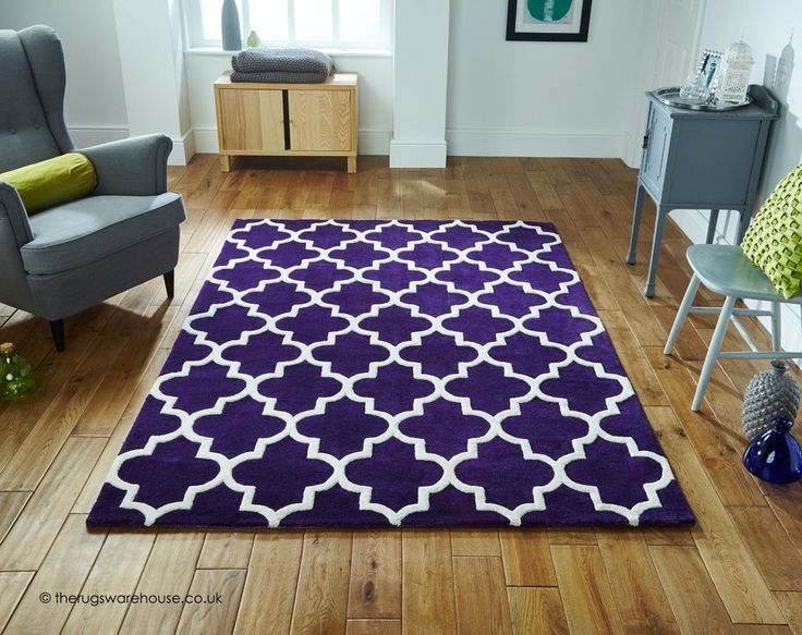 Arabesque Purple Rug A Thick Heavy Hand Tufted High Low Pile Wool
