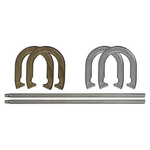 """The Franklin Sports Recreational Horseshoe Set features 4 official size and weight hammerite finished carbon-steel horseshoes and (2) 20"""" solid forged steel stakes. The Hammerite finish prevents rust and damage. Perfect for your next BBQ-this set also includes Official Horseshoe Pitching rules and court layout guide!"""