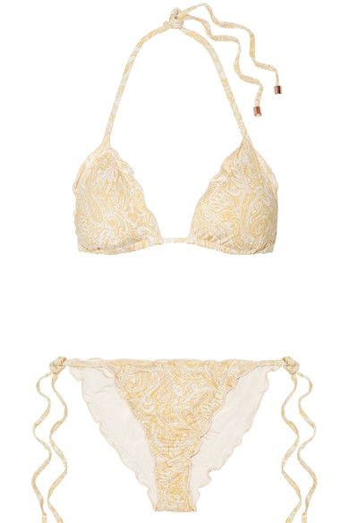 Eberjey - Dakota Avalon Ruffled Printed Triangle Bikini - Gold