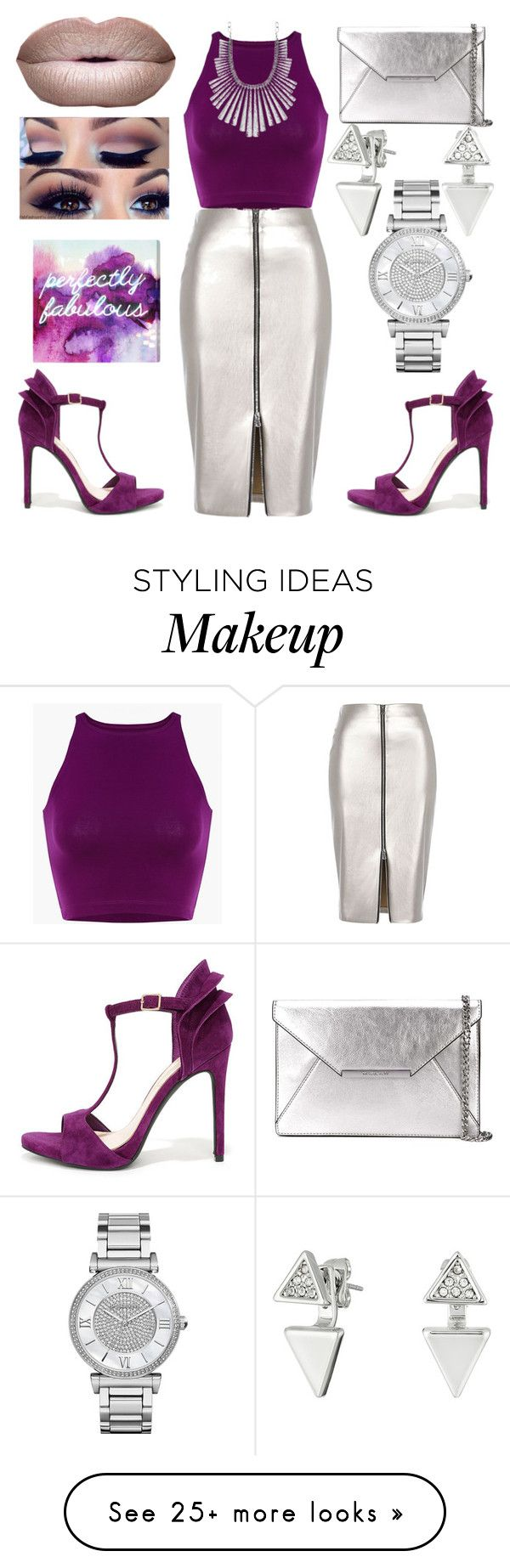 """""""Perfectly fab."""" by veronica-maneaa on Polyvore featuring River Island, Jessica Simpson, MICHAEL Michael Kors, Lucky Brand, Michael Kors, Rebecca Minkoff, Oliver Gal Artist Co., purple, Silver and fabulous"""