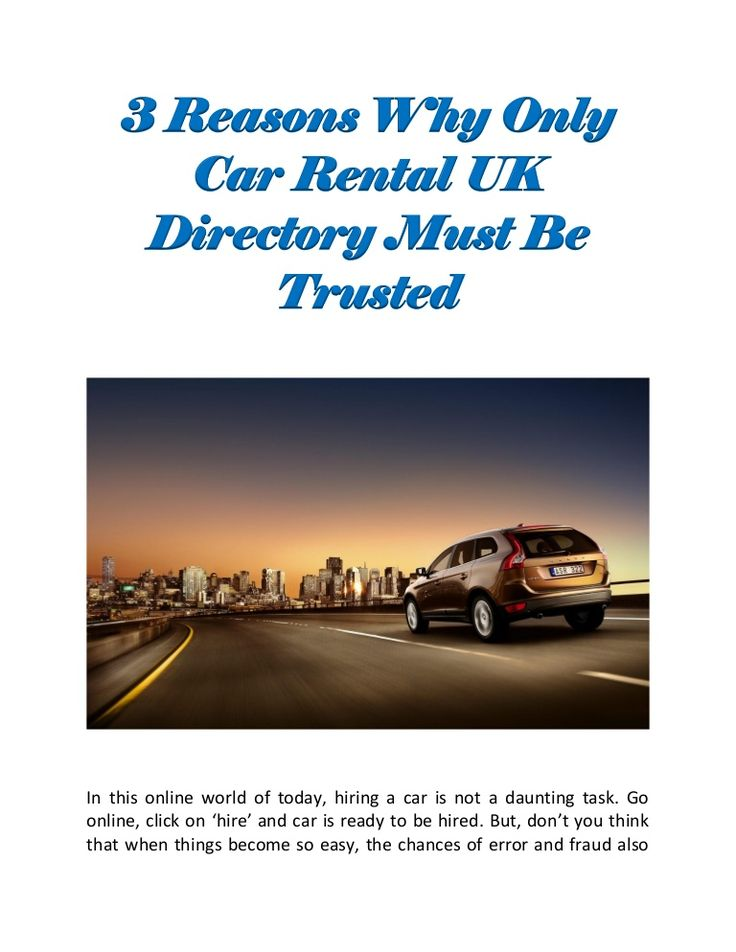 3 Killer Benefits That Only #CarRental #UKDirectory Can Offer – #business #directory