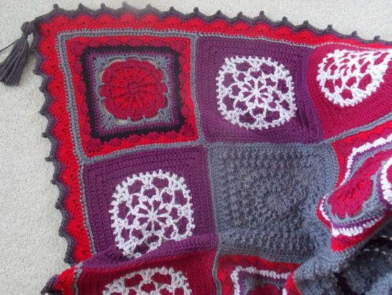 Reduced Price WinterBerry Afghan Blanket by RainbowBirdCrochet