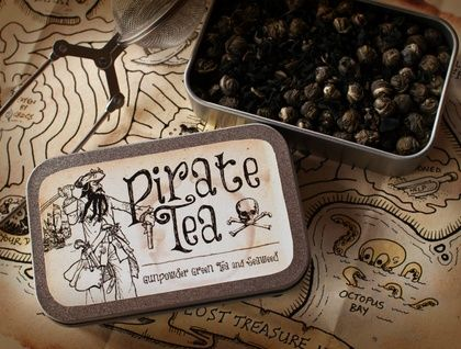 Pirate Tea When Pirates aren't plundering, pillaging or knitting, they often have a lovely cup of tea.   The Pirate Tea in this tin is a mixture of Gunpowder Green Tea and Seaweed. Green tea is loaded with antioxidants and nutrients while seaweed has long been used to increase overall health.