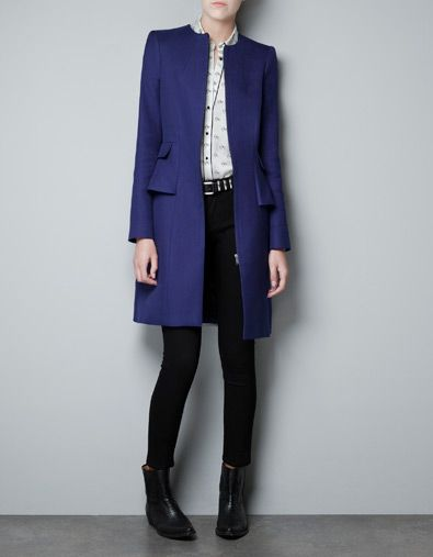 STRUCTURED COAT WITH A FRILL AT THE HIP - Coats - Woman - ZARA United Kingdom £79.99