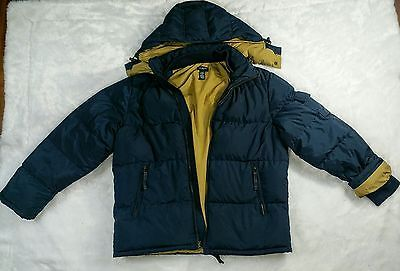 J Crew Mens Hooded Down Feather Blue Puffy Quilted Winter Jacket Coat Size M
