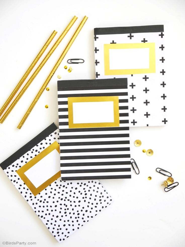 Geometric pattern and gold foil customized DIY notebooks for back to school…