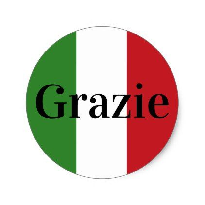 Italian Flag Colors Italy Green White Red Grazie Classic Round Sticker - wedding party gifts equipment accessories ideas