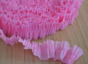 Pink ruffled streamers made from crepe paper ... lo~ove it!